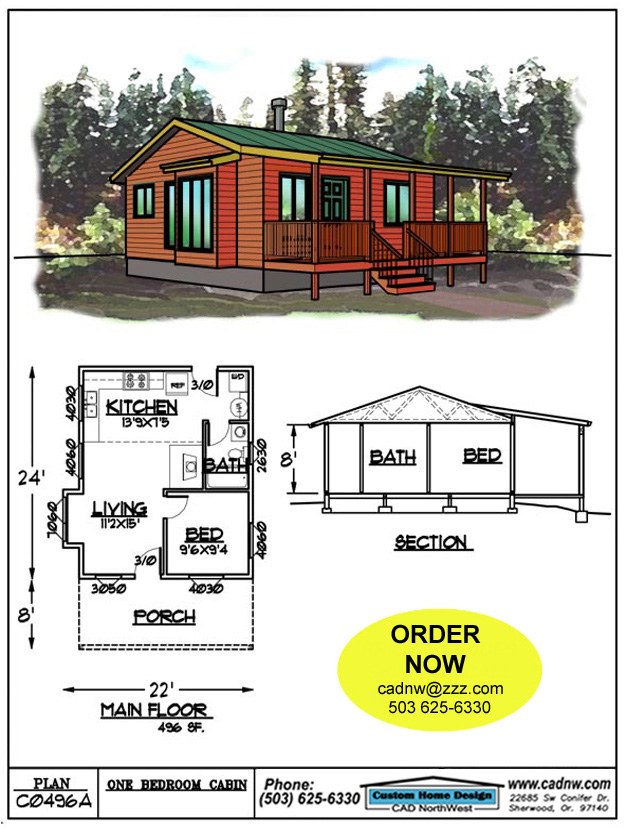 C0496a cabin plan details for Fishing cabin floor plans