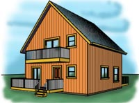 Gable entry cabin plans at cabinplans123 for Cabin plans 123