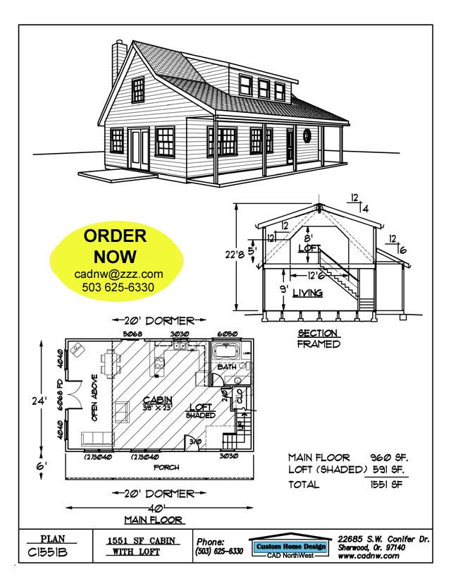 C1551b cabin plan details for Cabin plans 123